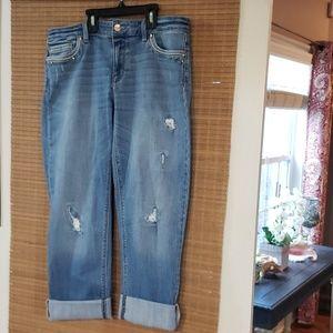 WHBM straight leg embellished crop jean